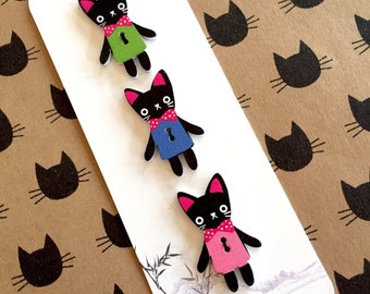 Black cat decorative wooden buttons for craft and scrapbooking
