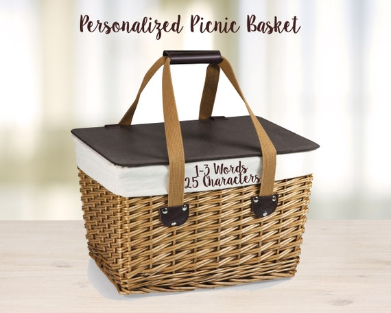 Personalized Wedding Gift Picnic Basket with Embroidered
