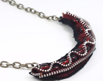 Red & Black Zipper Necklace- Textile Jewelry, Fashion Necklace, Recycled, Upcycled, Found Object Jewelry, Sewing Necklace, Gift for Sewer