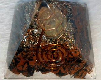 Mahoganey Obsidian Orgone Pyramid 50 MM With Crystal ,Copper, Metal And Pyrite