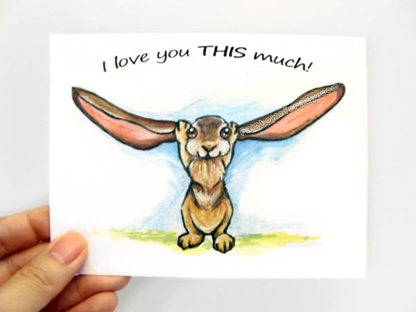 cute rabbit card i love you this much valentines day custom, Ideas