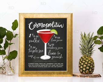 Cosmopolitan Chalkboard Cocktail with Recipe - PRINTABLE Wall Art / Cocktails Mixed Drinks Wall Art / Hand Drawn Cocktails / Cocktails Print
