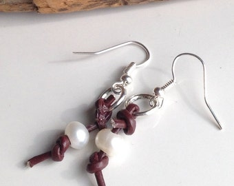 Leather And Freshwater Pearl Earrings, Leather Earrings, Dangle Earrings, Silver Plated Earrings, Etsy, Etsy Jewelry