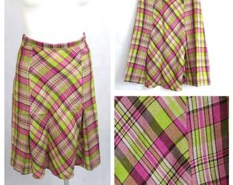 Vintage 70's Women Skirt Mod Knee Length Tartan Check A-line UK12/14 EU38/40