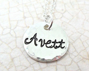 Custom Single Disc Hammered Sterling Silver Name Necklace