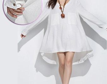 Anysize V-neck soft linen dress plus size dress plus size tops plus size clothing Spring Summer Fall dress Y160