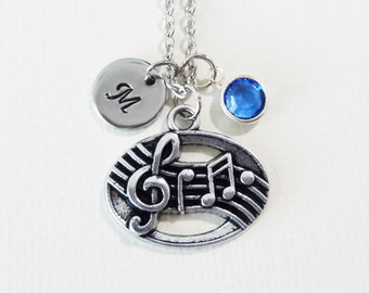 Music Necklace, Music Notes Necklace, Musical Gift, Swarovski Birthstone, Silver Initial, Personalized, Monogram, Hand Stamped Letter