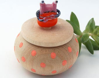 Tiny Wood Trinket Box with Lampwork Glass Orange Pink Polyp MonsterTopper Knob/Finial