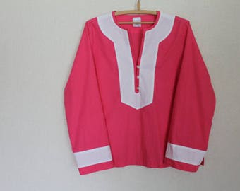 Vintage Coral Red White Summer Blouse Long Sleeve Pink Top Cotton Peasant Shirt Embroidered Tunic Hippie Boho Medium Size