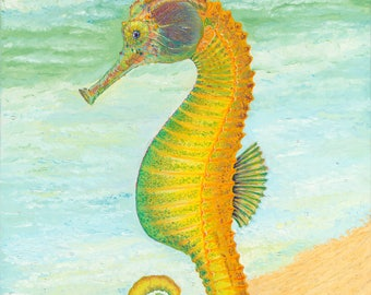 Seahorse Original Oil Painting on Canvas