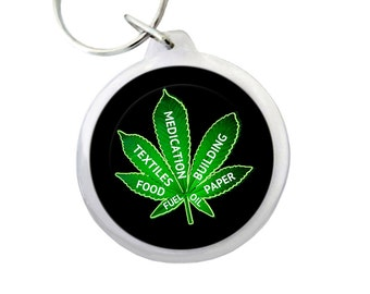 "USES OF CANNABIS Keyring 1.75"" Hippie Keychain with Green Pot Leaf Leaf  with Uses of Cannabis"