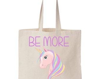 Be More Unicorn Canvas Tote Shopping Bag