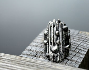 Abstract Free Form, Artisan Rings, Metal Ring, Fully Adjustable, Organic Ring, Artisan Ring (2518)