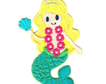 Mermaid Princess Iron On Patch Embroidered Applique