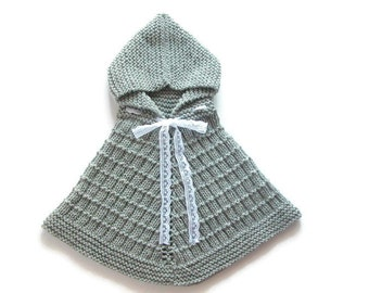 30% Discount, 6 - 12 Months, Baby Grey Poncho, Little Girl Hand Knit Sweater, Baby Shower Gift, Hooded Cape, Ready To Ship