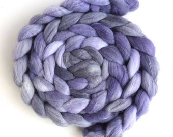 Targhee/Bamboo/Silk Roving - Hand Painted Spinning Fiber, Lavender