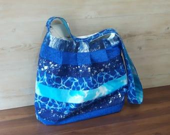 Metallic Water Crossbody Bag, handmade , womans handbag, homemade, gift, womens purse, diaper bag, baby, stroller bag, pleated
