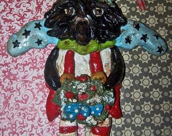 Folk Art Whimsical Shih Tzu Dog Angel Christmas Wreath Colorful Vintage Nostaglc OOak