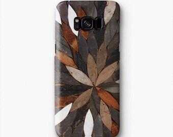 Natura i fogli caso Samsung S8, S8 plus caso, S3 caso, caso S4, S5 caso, nota 2 caso, caso nota 3, nota 4 caso, T652 marrone bianco