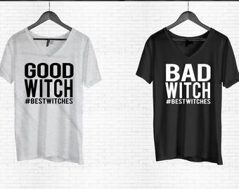 Bad Witch Shirt, Good Witch T-shirt, Halloween Shirt, Funny Halloween Shirt, Women's Halloween Shirt,Happy Halloween, Duo Halloween Shirt