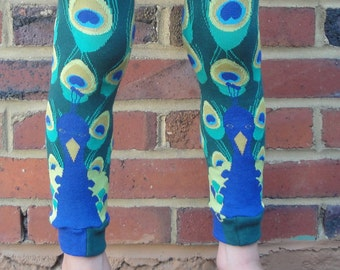Peacock Plume Leg Warmers - Baby Leggings -  Arm Warmers - Infant, Toddler, Kid, Tween - Gift for Boy or Girl - Fun and Functional Fashion
