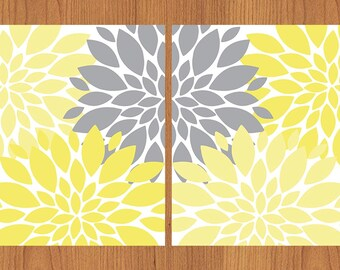 Floral Flower Burst Canary Butter Yellow Grey Wall Art Baby Decor Bedroom Bathroom Livingroom Kitchen Home Art Print 8x10 Matte Print (122)