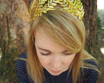 BRIDAL crown TIARA headband HEADPIECE crystal gold leaves metal greek halo wedding bride accessories halo art deco silver jewellery