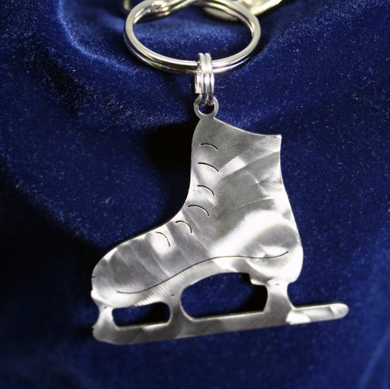Old School Ice Skate Stainless Steel Key Chain Charm