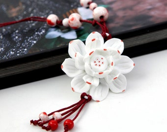 Handmade Porcelain Flower Necklace (Red Points Lotus)