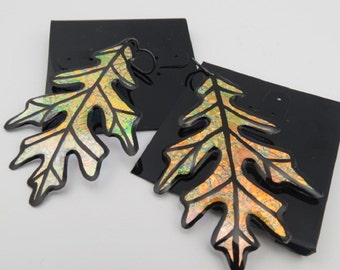 Large Autumn Iridescent & Transparant Leaf Earrings