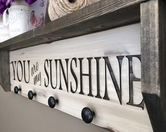 Kids Wall Shelf, Nursery Room Shelf, Custom Shelf,  Decorative Shelf, Bathroom Shelf, Towel Hanger. You are my sunshine wood shelf