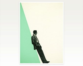 Collage Art, Mid Century Male Portrait Print, Retro Wall Art - Cool As a Cucumber