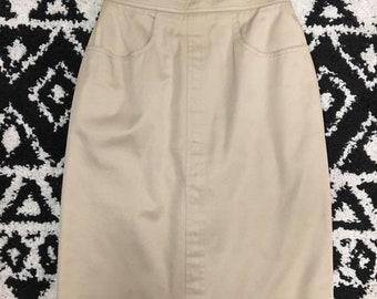 Vintage Chanel khaki pencil skirt NY sample 38