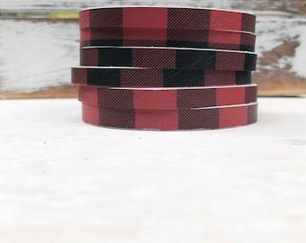 Leather Bangle Bracelet - Black & Red Buffalo Plaid