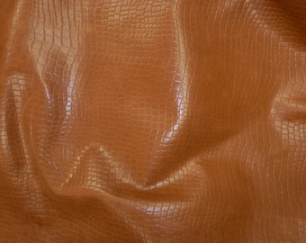 "Leather 12""x12"" REPTILE on Pull up SADDLE Brown Cowhide 2.25-2.5 oz /0.9-1 mm PeggySueAlso™ E2935-02 trial"