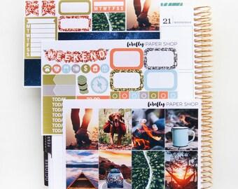 Outdoor-Abenteuer MINI wöchentlichen Kit (Aufkleber für Erin Condren Life Planner - Vertical)