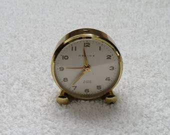 Vintage 1930 to 1969 Art Deco Brass Relide Travel Alarm Clock with Case Pocket Clock Swiss Movement 8 Day Wind Up Analog Clock