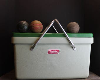 Vintage White and Green Coleman Cooler With Metal Handles // Classic Coleman Green // Ice Chest // Tailgating