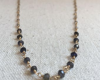 Labradorite and iolite gemstone necklace