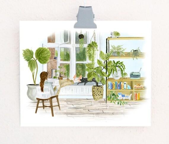 Greenloft print of an original watercolor
