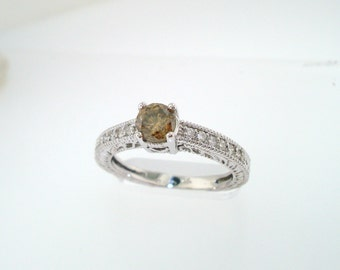 Fancy Champagne Brown Diamond Engagement Ring 14K White Gold 0.64 Carat Vintage Antique Style Engraved handmade