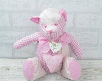 Personalised Baby Door Stop it's A Girl Teddy Pink Nursery Shower 33cm FD0320A/C