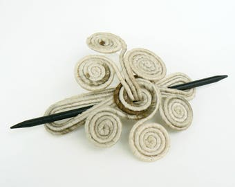 Rustic Hair fork, Cream slide barrette, Delicate shawl brooch, Unique hair clip, Bohemian jewelry, Beige hair holder, Retro hairstyle Boho