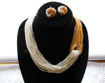 White Gold Sea Bead Necklace Earring Set #732