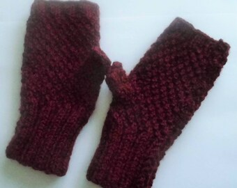 Knit fingerless mittens with thumb - Burgundy