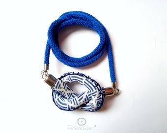 Costume Knotted necklace sailorette style in Blue Mom's Day gifts for woman. Long beach necklace textile sailor style blue knot sea jewelry