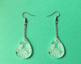 Clear monstera drop earrings