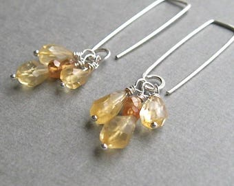 Natural citrine faceted teardrop dangle earrings on geometric hand formed sterling wire, contemporary sterling silver earrings