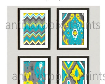 Art Colorful Ikat Prints, Teal Yellow Grey Set of (4) 8x10 Wall Art Prints, Custom Colors Available (Unframed)