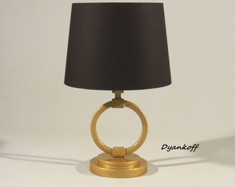 Handmade tabledeskbedside lamp with drum removable and handmade tabledeskbedside lamp with drum lampshademetalwood fabricgold color stand in modern styledifferent colors of the lampshade aloadofball Choice Image